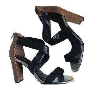 WHBM Criss Cross Color Melodie Block Square Heel